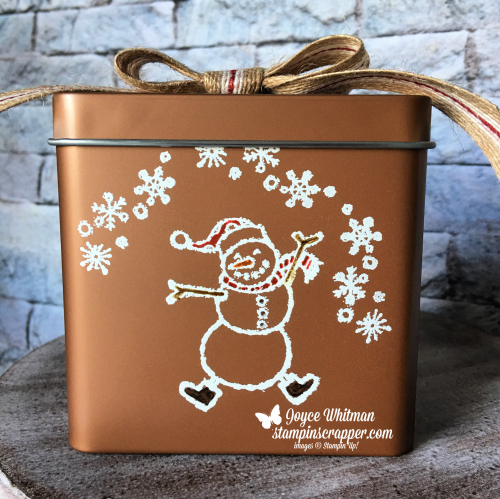 "Stampin Up, Stampin' Up! Spirited Snowmen stamp set #148072, Copper Tea Tins #147034, 5/8"" Striped Burlap Trim #147889, created by Stampin Scrapper, for more cards, gifts, ideas, scrapbooking and 3D projects go to stampinscrapper.com, Joyce Whitman"