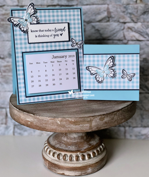 Stampin Up, Stampin' Up! Butterfly Gala stamp set #148580, Butterfly Duet Punch #148523m Gingham Gala designer series paper #148554, desk calendar, post it note holder, created by Stampin Scrapper, for more cards, gifts, ideas, scrapbooking and 3d projects go to stampinscrapper.com, Joyce Whitman