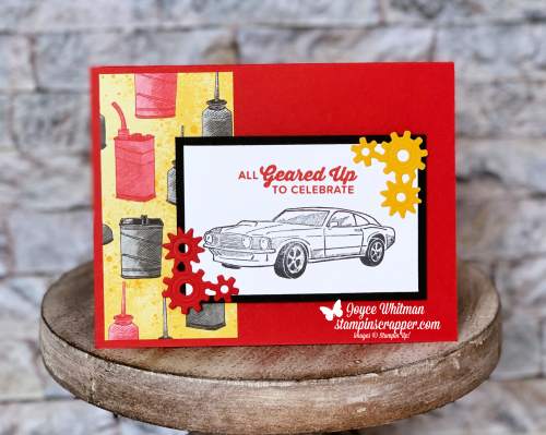 Stampin Up, Stampin' Up! Geared Up Garage stamp set #148590, , Garage Gears Thinlits #148521, Classic Garage 6 x 6 deisgner series paper #148482, created by Stampin Scrapper, for more cards, gifts, ideas, scrapbooking and 3D projects, go to stampinscrapper.com, Joyce Whitman