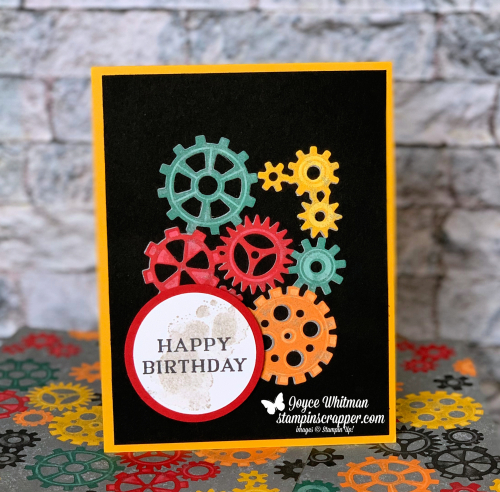 Stampin Up, Stampin' Up! Geared Up Garage stamp set #148482, Garage Gears Thinlits #148521, Classic Garage Metal Elements #148485, created by Stampin Scrapper, for more cards, gifts, ideas, scrapbooking and 3D projects, go to stampinscrapper.com, Joyce Whitman