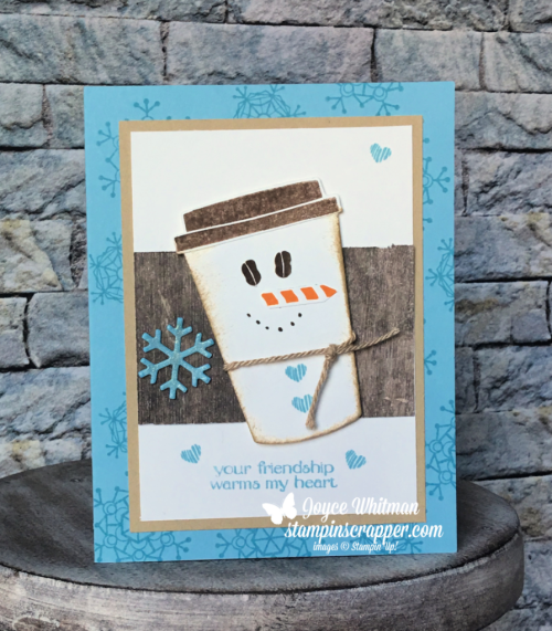Stampin Up, Stampin' Up! Coffee Cafe stamp set #143677, Spirited Snowmen stamp set #148072, Coffee Cups Framelits #143745, Seasonal Tags Framelits #144685, Nature's Twine #146342, created by Stampin Scrapper, for more cards, gifts, ideas, scrapbooking and 3D projects go to stampinscrapper.com, Joyce Whitman