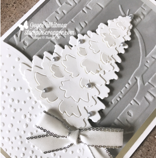 Stampin Up, Stampin' Up! Winter Woods Bundle #149992, Woodland Embossing Folder #139673, Softly Falling Embossing Folder #139672, Metallic Edge Ribbon #144213, Metallic Pearls #146282, created by Stampin Scrapper, for more cards, gifts, ideas, scrapbooking and 3D projects go to stampinscrapper.com, Joyce Whitman