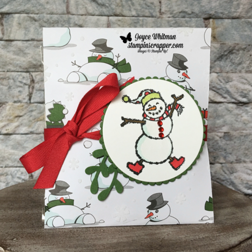 "Stampin Up, Stampin' Up! Spirited Snowmen stamp set #148072, Santa's Workshop Specialty Designer Series Paper #147809, Sprig Punch #148012, Layering Circle Framelits #141705, 3/8"" Cotton Ribbon Real Red #146925, created by Stampin Scraper, for more cards, gifts, ideas, scrapbooking and 3D projects go to stampinscrapper.com, Joyce Whitman"