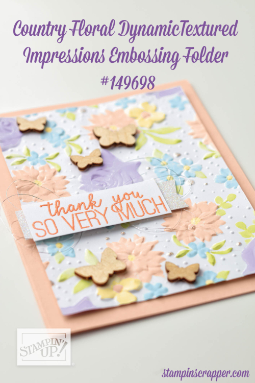 Stampin Up, Stampin' Up! Sale-a-Bration, join Joyful Butterflies, Paper Pumpkin, Sale-A-Bration Celebration, All Adorned Stamp Set #149728, Country Floral Dynamic Textured Impressions Embossing Folder #149698, Painted Seasons bundle #150349, created by Stampin Scrapper, for more cards, gifts, ideas, scrapbooking and 3D projects, go to Stampinscrapper.com, Joyce Whitman