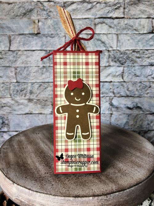 Stampin Up, Stampin' Up! Merry Christmas Monday 2018 Week #6, Cookie Cutter Christmas stamp set #142043, Cookie Cutter Builder Punch #140396, Festive Farmhouse designer series paper #147820, Striped Burlap Trim #147889, Festive Farmhouse Cotton Twine #147888, created by Stampin Scrapper, for more cards, gifts, ideas, scrapbooking and 3D projects go to stampinscrapper.com, Joyce Whitman