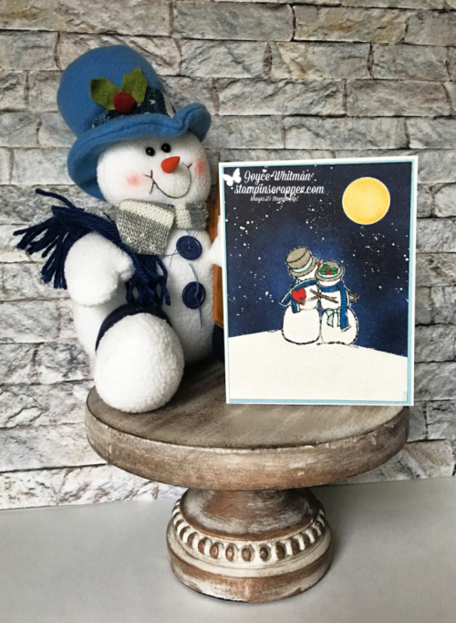 Stampin Up, Stampin' Up!, Spirited Snowmen stamp set #148072, Frost White Shimmer paint #147046, Dazzling Diamonds #133751, created by Stampin Scrapper, for more cards, gifts, ideas, scrapbooking and 3D projects go to stampinscrapper.com, Joyce Whitman