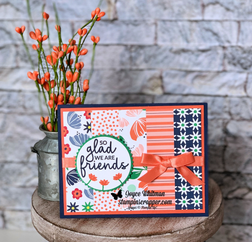 "Stampin Up, Stampin' Up! Incredible Like You stamp set #148708, Happiness Blooms designer series paper  #148795, Starburst Punch #143717, 2"" Circle Punch #133782, Calypso Coral 3/8"" Satin Ribbon #148804, created by Stampin Scrapper, for more cards, gifts, ideas, scrapbooking and 3D projects go to stampinscrapper.com, Joyce Whitman"