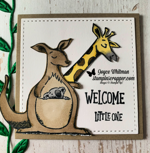 "Stampin Up, Stampin' Up! Animal Outing #146600, Animal Friends Thinlits #146823, Blends Markers, Leaf Ribbon #146905, Layering Squares Framelits #141708, Wood Textures 6"" x6"" designer series paper #144177, created by Stampin Scrapper, for more cards, gifts, ideas, scrapbooking and 3D projects go to stampinscrapper.com, Joyce Whitman"