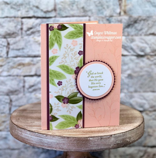 "Stampin Up, Stampin' Up! His Grace stamp set #148676, Floral Romance Specialty Designer Series Paper #148586, Starburst Punch #143717, 2"" Circle Punch #133782, 1 3/4"" Circle Punch #119850, created by Stampin Scrapper, for more cards, gifts, ideas, scrapbooking and 3D projects go to stampinscrapper.com, Joyce Whitman"