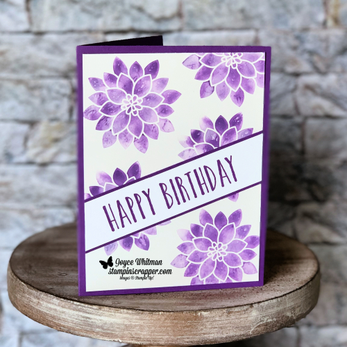 Stampin Up, Stampin' Up!, Flourishing Phrases stamp set #141534, Perennial Birthday stamp set #145760, Gorgeous Grape Ink Refill #147164, Highland Heather Ink Refill #147167, Glossy White cardstock #144240, Baby Wipe Technique, created by Stampin Scrapper, for more cards, gifts, ideas, scrapbooking and 3D projects go to stampinscrapper.com, Joyce Whitman