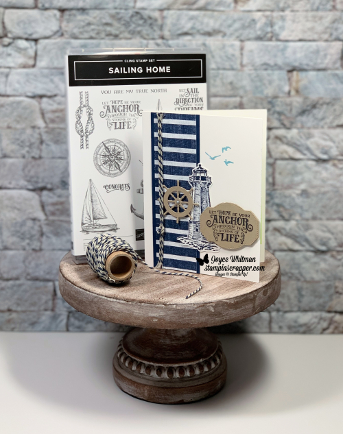 Stampin Up, Stampin' Up! Sailing Home stamp set, Smooth Sailing dies, Come Sail Away designer series paper, Baker's Twine, masculine card, paper crafting, stamping, rubber stamping, handmade, created by Stampin Scrapper, for more cards, gifts, ideas, scrapbooking and 3D projects go to stampinscrapper.com, Joyce Whitman