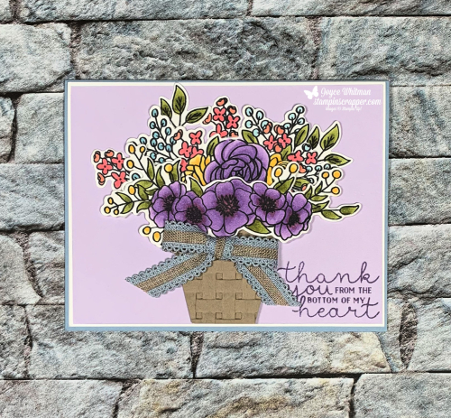 "Stampin Up, Stampin' Up!, Bloom and Grow stamp set,  Budding Blooms Dies, Bloom and Grow Bundle, Stampin Blends markers, Basket Weave Embossing Folder, 1/2"" Scalloped Linen Ribbon, created by Stampin Scrapper, for more cards, gifts, ideas, scrapbooking and 3D projects go to stampinscrapper.com, handmade, paper crafting, stamping, rubber stamping, Joyce Whitman"