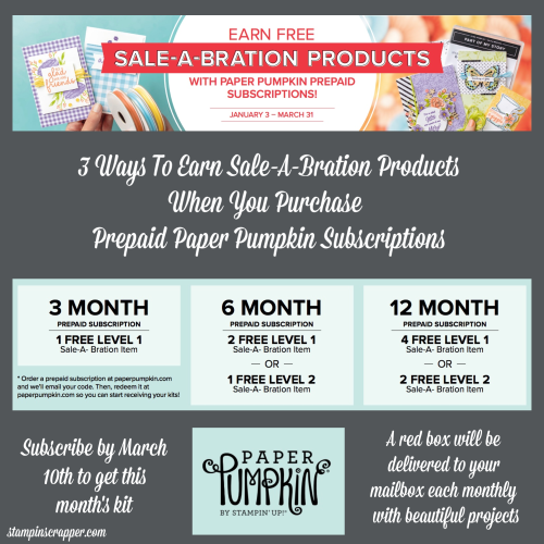 Stampin Up, Stampin' Up! Paper Pumpkin, Prepaid Subscriptions, Sale-A-Bration, Sale-A-Bration Coordination, Stampin Scrapper for more cards, gifts, ideas, scrapbooing, 3D projects go to stampinscrapper.com, Joyce Whitman