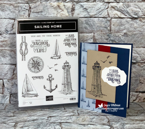 Stampin Up, Stampin' Up!, Sailing Home stamp set, Come Sail Away designer series paper, Smooth Sailing Dies, Stitched Rectangle Dies, Banner Triple Punch, Subtle Embossing Folder, created by Stampin Scrapper, for more cards, gifts, ideas, scrapbooking and 3D projects go to stampinscrapper.com, Joyce Whitman