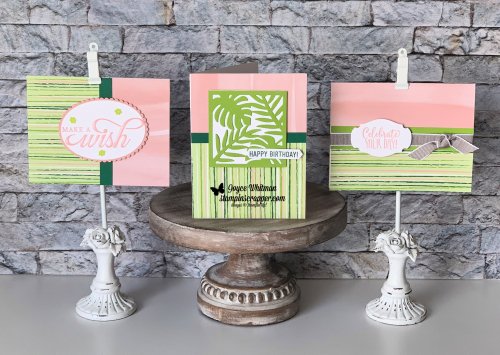 Stampin Up, Stampin' Up! Tropical Escape dsp #146916, Tropical Chic stamp set #146753, Tropical Thinlits Dies #146831, Tropical Chic bundle #148399, Part of My story  #149719, Life Is Grand #148744, Amazing Life #148750, Hello Cupcake #149714, Note Cards  Envelopes #131527, Story Label Punch #150076, Darling Label Punch Box #146855, Gray Granite Ribbon #147656, created by Stampin Scrapper, for more cards, gifts, ideas, scrapbooking & 3D projects go to stampinscrapper.com, Joyce Whitman