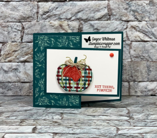 Stampin Up, Stampin' Up!, Harvest Hellos, Apple Builder Punch, Stampin' Up! 2019 holiday catalog, Come to Gather designer series paper, 2019-2020 In Color Faceted Dots, created by Stampin Scrapper, for more cards, gifs, ideas, scrapbooking and 3D projects go to stampinscrapper.com, Joyce Whitman