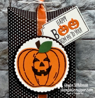 Stampin Up, Stampin' Up!, Tags, Tags, Tags stamp set, Harvest Hellos stamp set, Kraft Pillow Boxes, Layering Ovals Dies, Blends, Paper crafting, Halloween, Fall, Pumpkin, created by Stampin Scrapper, for more cards, gifts, ideas, scrapbooking and 3D projects go to stampinscrapper.com, Joyce Whitman