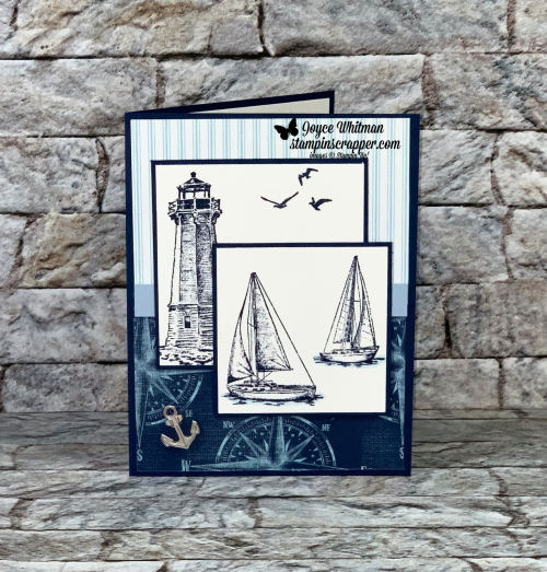 Stampin Up, Stampin' Up!, Sailing Home stamp set, Come Sail Away designer series paper, Sail Away Trinkets, masculine card, created by Stampin Scrapper, for more cards, gifts, ideas, scrapbooking and 3D projects go to stampinscrapper.com, Joyce Whitman