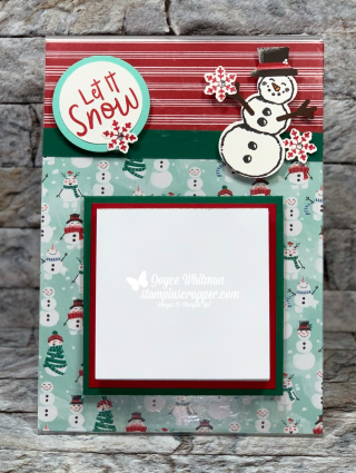 Stampin Up, Stampin' Up!, Snowman Season stamp set, Snowman Builder Punch, Let It Snow Specialty Designer Series Paper, Starburst Punch, Itty Bitty Christmas stamp set, To Every Season stamp set, Sparkle Glimmer Paper, Frosted Frames Dies, Stitched Shapes Dies, created by Stampin Scrapper, for more cards, gifts, ideas, scrapbooking and 3D projects go to stampinscrapper.com, paper crafting, Christmas, gift card holders. post it note holder, coffee cup, Joyce Whitman