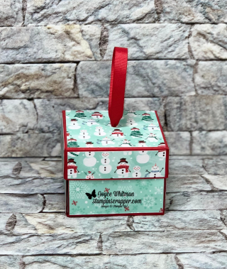 Stamin Up, Stampin' Up!, Let It Snow designer series paper, treat holder, explosion box, Merry Christmas Monday 2019 Week #5, paper crafting, handmade, created by Stampin Scrapper, for more cards, gifts, ideas, scrapbooking and 3D projects, go to stampinscrapper.com, Joyce Whitman