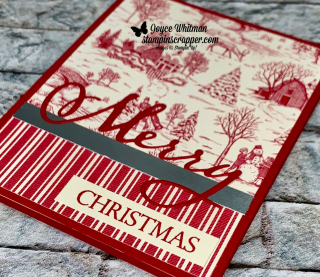 Stampin Up, Stampin' Up!, Merry Christmas To All, Christmas Dies, Toile Tidings designer series paper, created by Stampin Scrapper, for more cards, gifts, ideas, scrapbooking and 3D projects go to stampinscrapper.com, Joyce Whitman