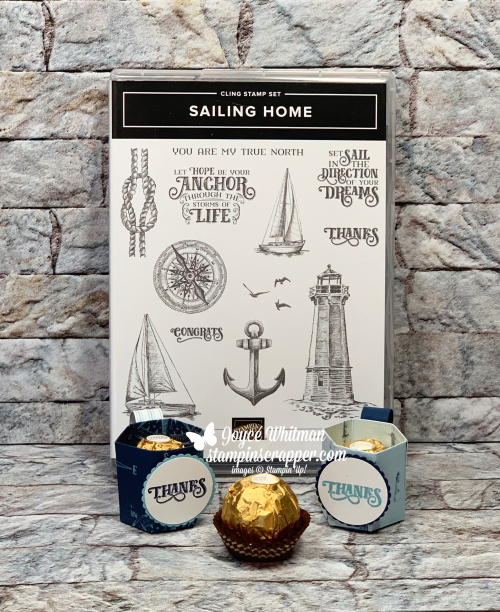 Stampin Up, Stampin' Up!,  Sailing Home stamp set, Come Sail Away designer series paper, Treat Holder, Thank you, created by Stampin Scrapper, for more cards, gifts, idea,s scrapbooking and 3D projects go to stampinscrapper.com, JoyceWhitman
