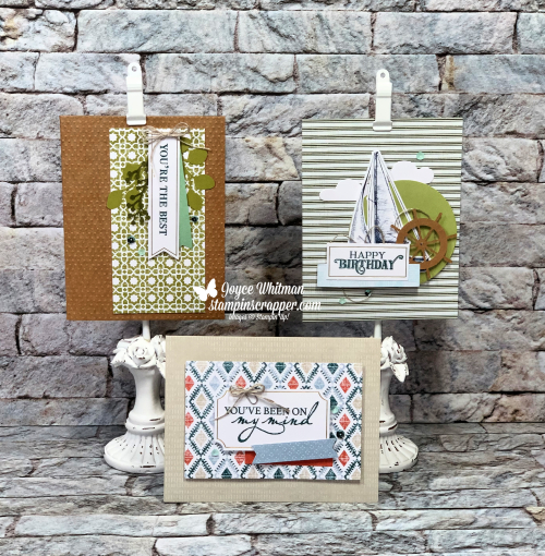 Stampin Up, Stampin' Up!, July 2019 Paper Pumpkin, Come Sail Away Suite, Come Sail Away designer series paper, Sail Away Trinkets, Garden Lane Suite, Verdant Garden stamp set, Garden Lane designer series paper, Woven Threads Suite, Woven Heirlooms stamp set, Heirloom Frames dies and 3D embossing folders, Woven Threads designer series paper, created by Stampin Scrapper, for more cards, gifts, ideas, scrapbooking and 3D projects go to stampinscrapper.com, Joyce Whitman, paper crafting, stamping, handmade,StampinUpJuly2019PaperPumpkinSailAwayWovenThreadsGardenLaneStampinScrapperJoyceWhitman14