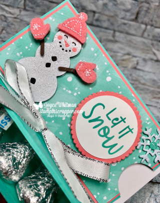 Stampin Up, Stampin' Up!, Snowman Season, Hershey Kisses, Treat Holder, Let It Snow Embellishment Kit, Snowman Builder Punch, Let It Snow Specialty designer series paper, created by Stampin Scrapper, Merry Christmas Monday, for more cards, gifts, ideas, scrapbooking and 3D projects go to stampinscrapper.com, Joyce Whitman