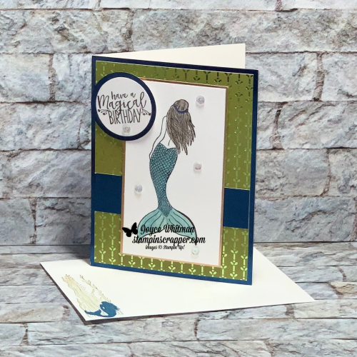 Stampin Up, Stampin' Up!, Magical Mermaid, Noble Foil Sheets, Noble Peacock specialty designer series paper, Watercolor pencils, created by Stampin Scrapper, for more cards,. gifts, ideas, scrapbooking and 3D projects, go to stampinscrapper.com, Joyce Whitman