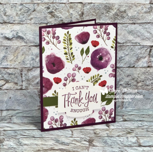 Stampin Up, Stampin' Up!, So Sentimental stamp set, Stitched So Sweetly dies, Thank you card, Peaceful Poppies designer series paper created by Stampin Scrapper.  For more cards, gifts, ideas, scrapbooking and 3D projects go to stampinscrapper.com, Joyce Whitman