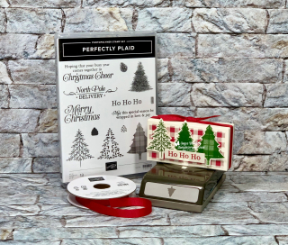"Stampin Up, Stampin' Up!, Perfectly Plaid, Pine Tree Punch 3/8"" Cotton Ribbon Real Red, Toile Tidings designer series paper, paper crafting, Merry Christmas Monday, Treat Holder, created by Stampin Scrapper, for more cards, gifts, ideas, scrapbooking and 3D projects go to stampinscrapper.com, Joyce Whitman"