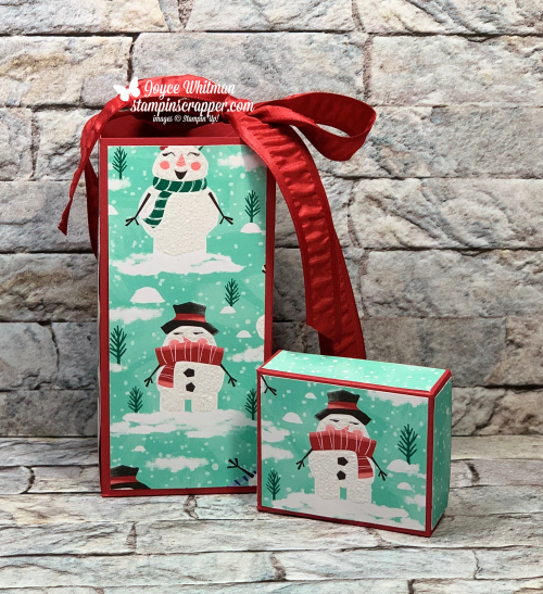 Stampin Up, Stampin' Up!, Let It Snow designer series paper, Treat Box, Lindt Chocolate, Snowman, Christmas, Paper Crafting, Handmade, created by Stampin Scrapper, for more cards, gifts, ideas, scrapbooking and 3D projects go to stampinscrapper.com, Joyce Whitman