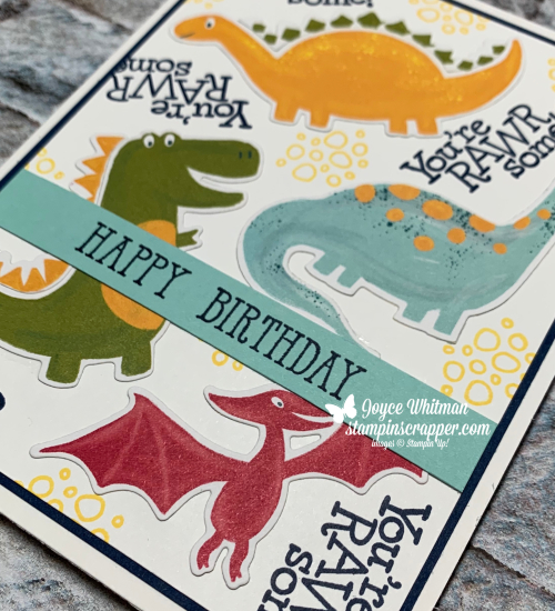 Stampin Up, Stampin' Up! Dino Days stamp set, Dino dies, Dinoroar designer series paper, Well Said stamp set, created by Stampin Scrapper.  For more cards, gifts, ideas, scrapbooking and 3D projects go to stampinscrapper.com, Joyce Whitman