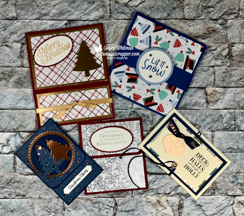 Stampin Up, Stampin' Up!, Gift Card Holder, Lots of Cheer stamp set, Feels Like Frost specialty designer series paper, Let It Snow designer series paper, Snowman Season stamp set, Itty Bitty Christmas, Brightly Gleaming specialty designer series paper, Copper Foil Sheet, Christmas Gleaming Stamp Set, Wrapped In Plaid designer series paper, Perfectly Plaid stamp set, created by Stampin Scrapper. For more cards, gifts, ideas, scrapbooking and 3D projects go to stampinscrapper.com, Joyce Whitman