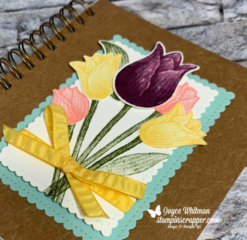 Stampin Up, Stampin' Up!, Timeless Tulips stamp set, Stitched So Sweetly dies, Pressed Petals Journal, What's New At SU Blog Hop, created by Stampin Scrapper.  For more cards, gifts, ideas, scrapbooking and 3D projects go to stampinscrapper.com, Joyce Whitman