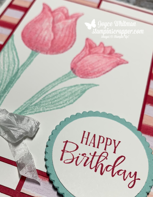 Stampin' Up!, Stampin Up, Timeless Tulips, Best Dressed designer series paper, created by Stampin Scrapper.  For more cards, gifts, ideas, scrapbooking or 3D projects go to stampinscrapper.com, Joyce Whitman
