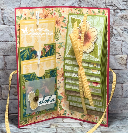 Stampin Up, Stampin' Up! Tropical Oasis Suite Mini Album, Timeless Tropical stamp set, In The Tropics dies, Timeless Tropical Bundle, Tropical Oasis designer series paper, Coastal Weave embossing folder, Tropical Oasis Trinkets, Braided Burlap Trim, created by Stampin Scrapper, for more cards, gifts, ideas, scrapbooking and 3D projects go to stampinscrapper.com, Joyce Whitman