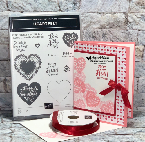Stampin Up, Stampin' Up! Heartfelt stamp set, From My Heart designer series paper, Real Red Double Stitched Ribbon, created by Stampin Scrapper, for more cards, gifts, ideas, scrapbooking and 3D projects go to stampinscrapper.com, Joyce Whitman