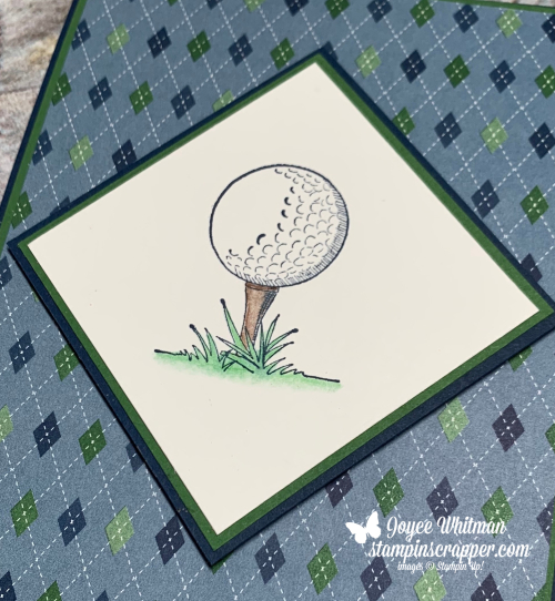 Stampin Up, Stampin' Up!, Clubhouse stamp set, Golf Club dies, Country Club designer series paper, masculine, birthday, created by Stampin Scrapper. For more cards, gifts, ideas, scrapbooking and 3D projects go to stampinscrapper.com, Joyce Whitman