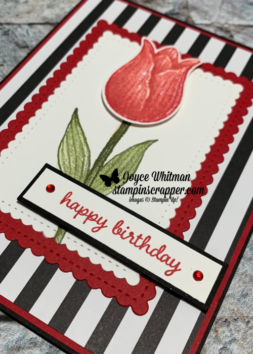 Stampin Up, Stampin' Up!, Timeless Tulips stamp set, Sweet Stitched Dies, Tulip Builder punch, Golden Honey designer series paper, created by Stampin Scrapper. For more cards, gifts, ideas, scrapbooking and 3D projects go to stampinscrapper.com, Joyce Whitman