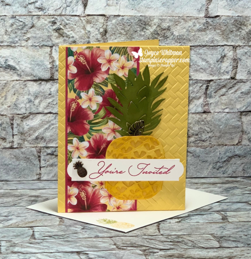 Stampin Up, Stampin' Up!, Tropical Oasis Suite, Tropical Oasis designer series paper, Coastal Weave 3D embossing folder, Tropical Oasis Trinkets, So Inviting stamp set, created by Stampin Scrapper.  For more cards, gifts, ideas, scrapbooking and 3D projects go to stampinscrapper.com, Joyce Whitman