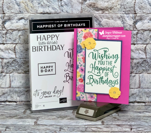 Stampin Up, Stampin' Up!, Happiest Of Birthdays, Fast and Easy Birthday Card, Flowers For Every Season, designer series paper, 2020-2022 In Colors, Birthday Card, created by Stampin Scrapper.  For more cards, gifts, ideas, scrapbooking and 3D projects go to stampinscrapper.com. Joyce Whitman