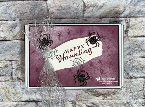 Stampin Up, Stampin' Up!, Fall Friday 2020 Week #2, Mini Paper Pumpkin Box, Banner Year, Celebrate Tidings, Little Treat Boxes dies, Snow Time dies, Metallic Mesh Ribbon, Treat Box Holder, created by Stampin Scrapper.  For more cards, gifts, ideas, scrapbooking and 3D projects go to stampinscrapper.com, Joyce Whitman