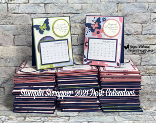 Stampin Up, Stampin' Up!, Paper Blooms 2021 Desk Calendars, Paper Blooms designer series paper, Stampin' Up! 2021 Sale-A-Bration, Dragonfly Garden stamp set, Butterfly Duet punch, created by Stampin Scrapper. For more cards, gifts, ideas, scrapbooking and 3D projects go to stampinscrapper.com, Joyce Whitman