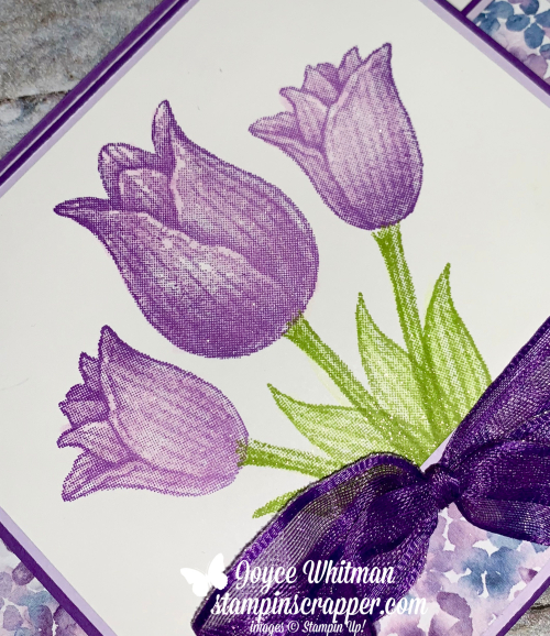 Stampin Up, Stampin' Up!, Tulips and Easter Go Together, Timeless Tulips stamp set, Hydrangea Hill designer series paper, created by Stampin Scrapper.  For more cards, gifts, ideas, scrapbooking and 3D projects go to stampinscrapper.com, Joyce Whitman