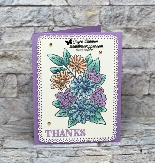 Stampin Up, Stampin' Up!, Ornate Style stamp set, Ornate Thanks stamp set. Ornate Layers dies, Stampin Blends, Glided Gems, created by Stampin Scrapper. For more cards, gifts, ideas, scrapbooking and 3D projects, go to stampinscrapper.com, Joyce Whitman