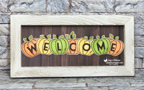 Stampin Up, Stampin' Up!, Fall Friday 2020 Week #3, Welcome Sign, Harvest Hellos stamp set, Apple Builder punch,  Stampin Blends, In Good Taste designer series paper, Playful Alphabet dies, created by Stampin Scrapper.  For more cards. gifts, ideas, scrapbooking and 3D projects go to stampinscrapper.com, Joyce Whitman