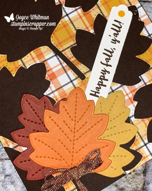 Stampin Up, Stampin' Up!, Banner Year stamp set, Weave/Metallic Ribbon Combo Pack, Stitched Leaves dies, Lovely Labels Pick Punch, created by Stampin Scrapper.  For more cards, gifts, ideas, scrapbooking and 3D projects, go to stampinscrapper.com, Joyce Whitman