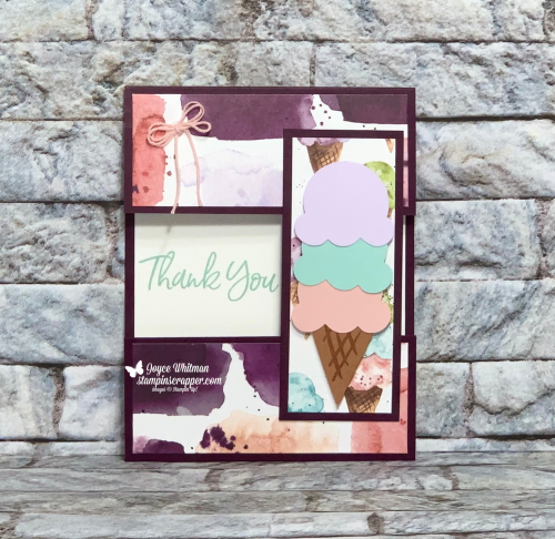 Stampin Up, Stampin' Up!, Ice Cream Corner suite, Sweet Ice Cream stamp set, Ice Cream Builder punch, Ice Cream Corner designer series paper, Snail Mail Twine combo pack, swap card, created by Stampin Scrapper.  For more cards, gifts, ideas, scrapbooking 3D projects and more go to stampinscrapper.com