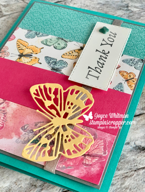 Stampin Up, Stampin' Up!, Butterfly Brilliance Bundle, Happy Thoughts stamp set, Butterfly Brilliance stamp set, Brilliant Wings dies, Stitched Rectangle dies, created by Stampin Scrapper.  For more cards, gifts, ideas, scrapbooking and 3D projects go to stampinscrapper.com, Joyce Whitman